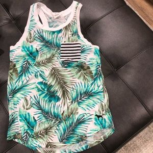 Pink tropical print racer back tank